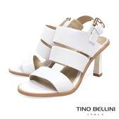 Tino Bellini 知性復古氣息純色高跟涼鞋 _ 白 A83083
