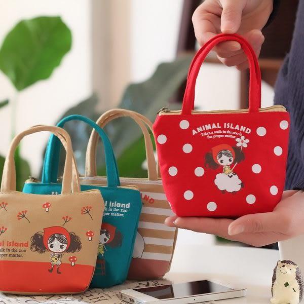 【04019】小紅帽零錢包 手提造型 帆布材質 鑰匙包 小錢包