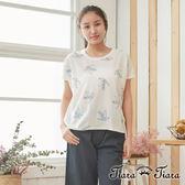 【Tiara Tiara】百貨同步 刺繡摺紙文鳥棉質短袖上衣(白/綠)