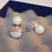 耳環 玫瑰金純銀鑲鑽-珍珠美麗生日情人節禮物女飾品2色73ca222[時尚巴黎]