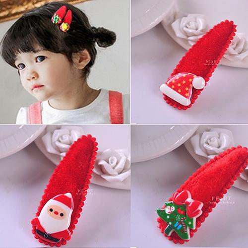 Xmas聖誕絨布BB髮夾 2入組 兒童髮飾 聖誕造型 髮夾