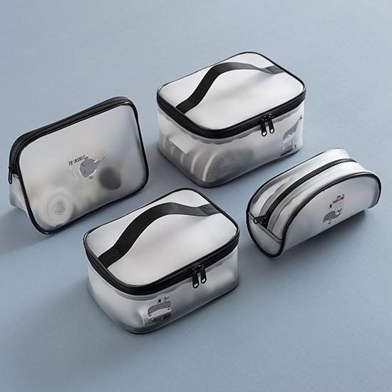 化妝包 透明袋 洗漱包 B款 果凍包 收納包 收納袋 防水包 手提包 透明化妝包 米菈生活館【Z115】