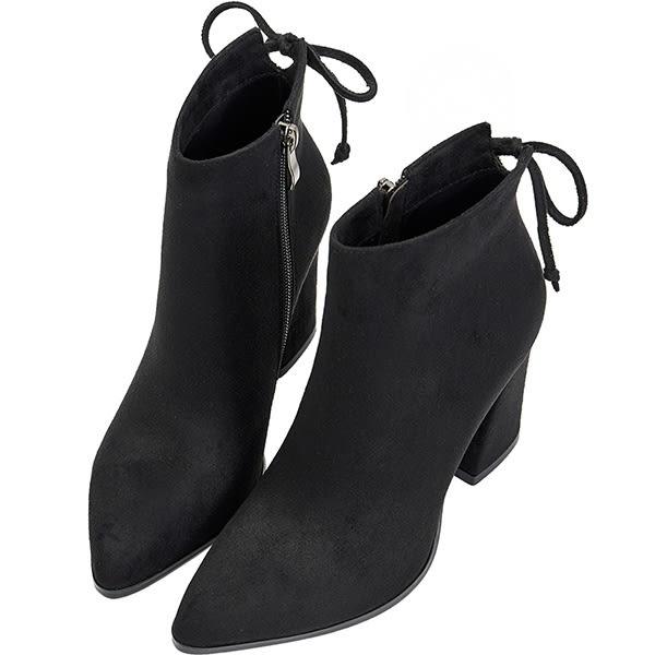 AIR SPACE 蝴蝶結絨布拉鍊粗跟中筒靴(黑)