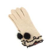 CLATHAS 雙層滾邊安哥拉羊毛可觸控手套(駝色)