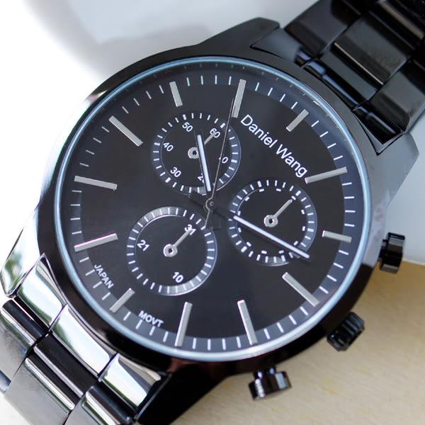 Daniel Wang 3136-IP 霸氣大錶面經典仿三眼石英黑框金屬男錶 - 黑面銀針