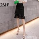 魚尾裙 黑色包裙女半身裙2021夏季新款高腰復古蕾絲拼接荷葉邊彈力魚尾裙 【99免運】