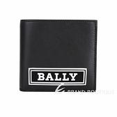 BALLY BRASAI 矽膠字母小牛皮對折八卡短夾(黑色) 1940537-01