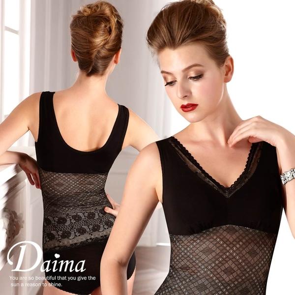 黛瑪Daima 馬甲  免穿胸罩絕美蕾絲提花輕機能防駝背心(星辰黑)6668