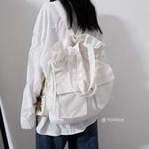 後背包 YOHOO!/ins日韓黑白純色百搭單肩帆布包袋後背背包包學生書包男女 韓國時尚週