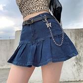 牛仔短裙 2021夏季新款半身裙女夏超短裙荷葉邊a字辣妹高腰帶內襯復古牛仔 小天使