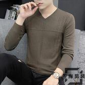 毛衣男長袖針織衫純色v領上衣韓版潮流內搭打底衫【左岸男裝】