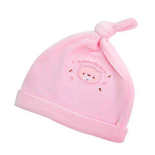 【奇買親子購物網】艾比熊剪毛絨初生帽(粉色/藍色)