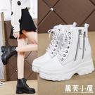 夏季馬丁靴女新款新款短靴秋英倫百搭高跟白色短靴厚底內增高女鞋