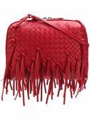 ■專櫃68折☆Bottega Veneta 387063 Nappa小羊皮流蘇編織斜背包 紅色