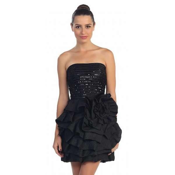 晚禮服【摩達客】美國進口Landmark平口修身浪漫俏麗黑色晚宴公主小禮服派對洋裝(含禮盒/附絲巾)
