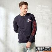 【JEEP】簡約素色休閒長袖TEE (深藍)