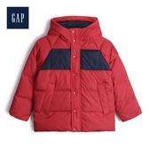 Gap男童保暖按扣開襟絎縫連帽棉服480042-紅色印花