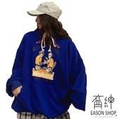 EASON SHOP(GW7455)實拍撞色字母卡通印花大口袋落肩寬鬆長袖連帽棉T恤裙女上衣服OVERSIZE大尺碼藍