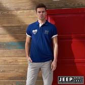 【JEEP】潮流美式風格貼布短袖POLO衫 (藍)