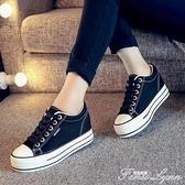 白色內增高小白鞋女帆布鞋松糕鞋韓版板鞋休閒女鞋厚底增高 范思蓮恩