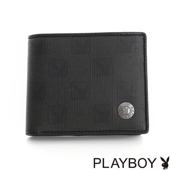 PLAYBOY- 中翻短夾 紳士棋盤兔系列-經典黑