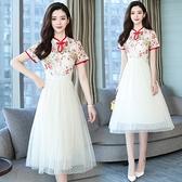 M-4XL胖妹妹洋裝連身裙~改良旗袍蕾絲拼接網紗連身裙.T135A衣時尚