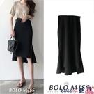 熱賣半身魚尾裙 黑色高腰魚尾裙包臀裙夏季新款復古中長款一步裙開叉顯瘦半身裙女 coco