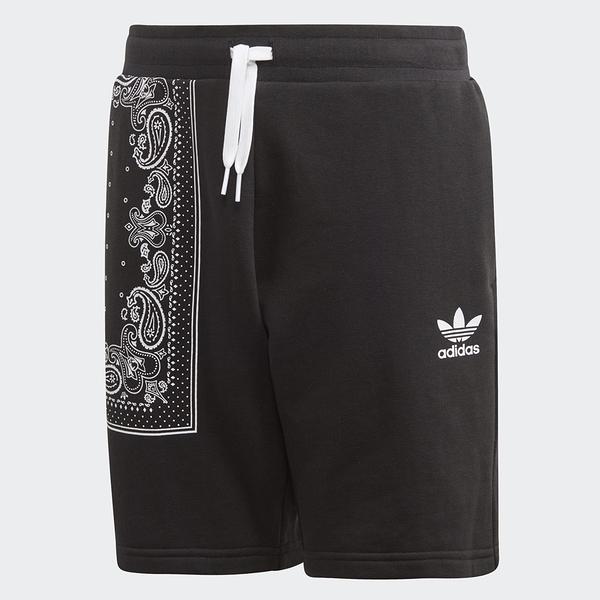 ADIDAS 童裝 短褲 BANDANA SHORT 黑 針織 圖騰 休閒 大童(布魯克林) DW3837