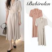 夏季新款復古法式氣質一片式收腰系帶V領襯衫裙中長棉麻洋裝女 滿天星