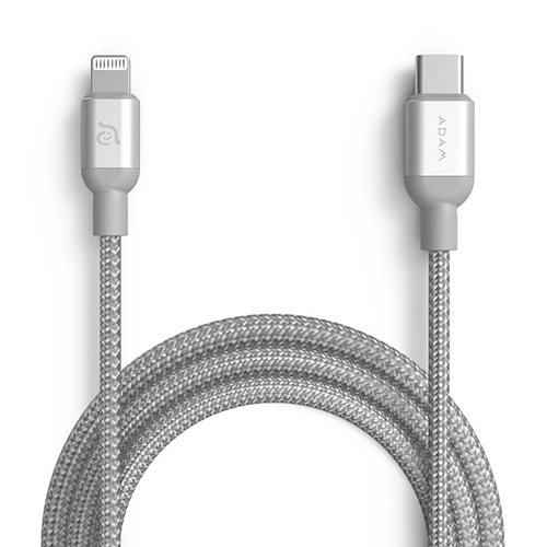 ADAM 亞果元素 PeAk II USB-C to Lightning Cable C120B MFi認證 金屬編織傳輸線 120CM 銀色