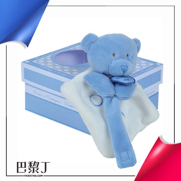 Doudou et Compagnie QQ小藍毛巾熊奶嘴鏈 有盒【巴黎丁】