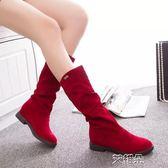 中筒靴 新款長靴韓版平底彈力襪子靴復古套腳中筒靴絨面長筒靴女 艾維朵