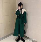 長袖洋裝 秋裝2020新款女黑色娃娃領洋裝女收腰顯瘦中長裙綁帶長袖裙 【快速出貨】
