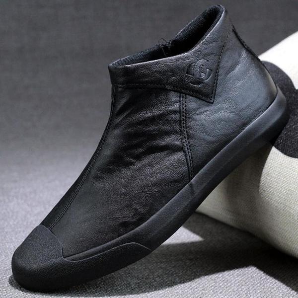 男鞋皮鞋秋季休閒高幫一腳蹬冬季棉鞋子男潮鞋新款男士馬丁靴 優拓