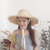遮陽帽 拉菲草帽女夏大沿蕾絲綁帶帽子小清新海邊遮陽防曬海灘度假沙灘帽 1色