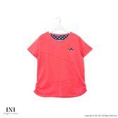 【INI】簡單設計、拼接點點竹節紋棉質上衣.橙色