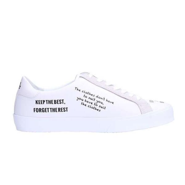 Karl Lagerfeld 卡爾 老佛爺 鞋 SKOOL 經典SLOGAN綁帶休閒鞋-白