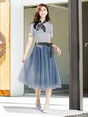 春裝上市[H2O]假兩件式活動一片紗裙可兩穿針織洋裝 - 藍/白/灰色 #0684009