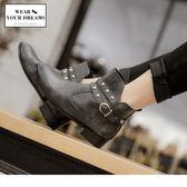 《SD0169》台灣製造~耐磨仿皮革鉚釘造型短靴 OrangeBear