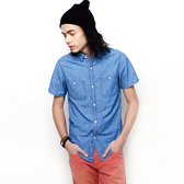 張西西推薦-SISJEANS-靛藍平織修身短袖襯衫【SISMS002】