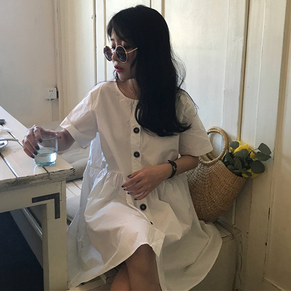 [超豐國際]夏裝復古小清新單排扣寬松娃娃裙中長款顯瘦氣質短袖1入