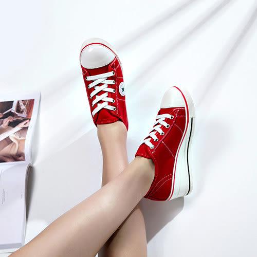 克妹Ke-Mei【AT43671】歐!!制定 心機系楔型厚底五角星低幫綁帶休閒帆布鞋