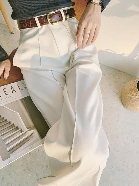 西裝褲 女春秋高腰垂感寬松顯瘦直筒2021年新款高級感西裝褲子【牛年大吉】