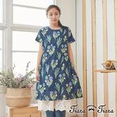 【Tiara Tiara】百貨同步 純棉傘裙擺印花短袖洋裝 (藍)