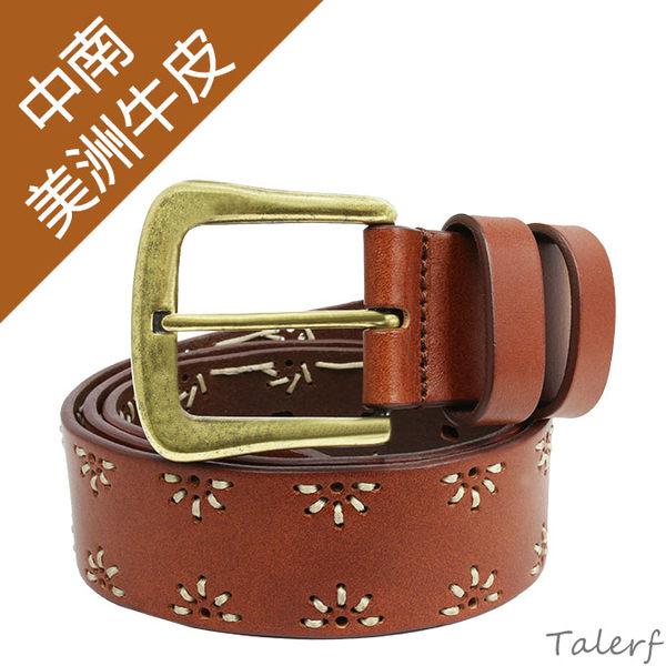 TALERF手工縫花線牛仔帶(紅棕色/共2色)-女 /真皮 牛皮/台灣製造