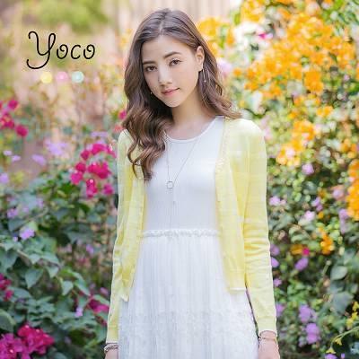 東京著衣【YOCO】可愛領口滾邊點點針織外套-XS.S.M(6014775)