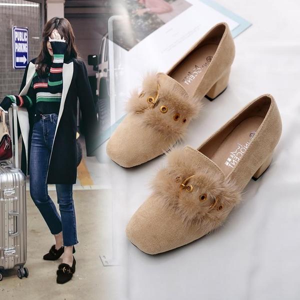 高跟鞋 秋季女鞋子好康新品網紅單鞋粗跟百搭仙女正韓中跟豆豆毛毛鞋高跟
