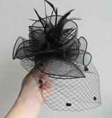賽馬會帽女遮臉歐單網紗帽子宴會頭飾舞台小禮帽羽毛發飾馬術禮帽【快速出貨】