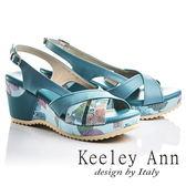 ★零碼出清★Keeley Ann春意盎然~印花時尚寬版交叉拼接真皮楔形涼鞋(藍色)