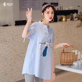 微胖mm2019加大尺碼 女裝夏裝新款洋氣仙女人顯瘦藏肉減齡短袖襯衫
